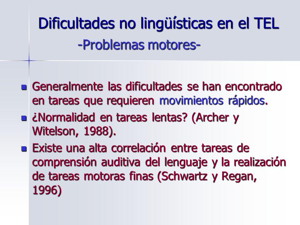 Dificultades no lingüísticas en el TEL