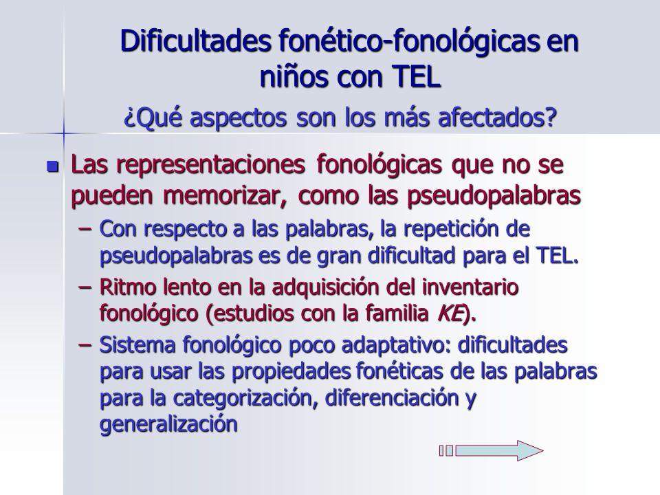 Dificultades fonético-fonológicas en niños con TEL