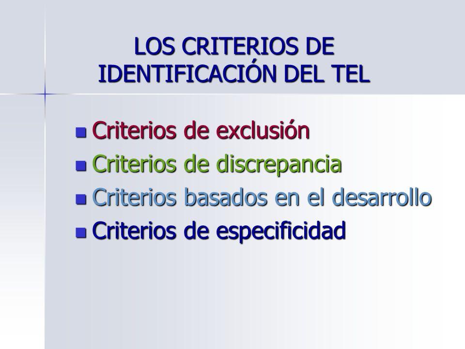 LOS CRITERIOS DE IDENTIFICACIÓN DEL TEL