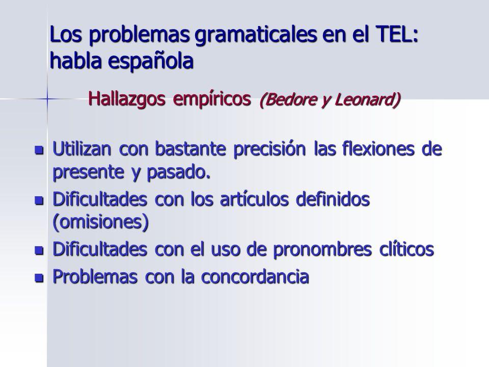 Los problemas gramaticales en el TEL: habla española