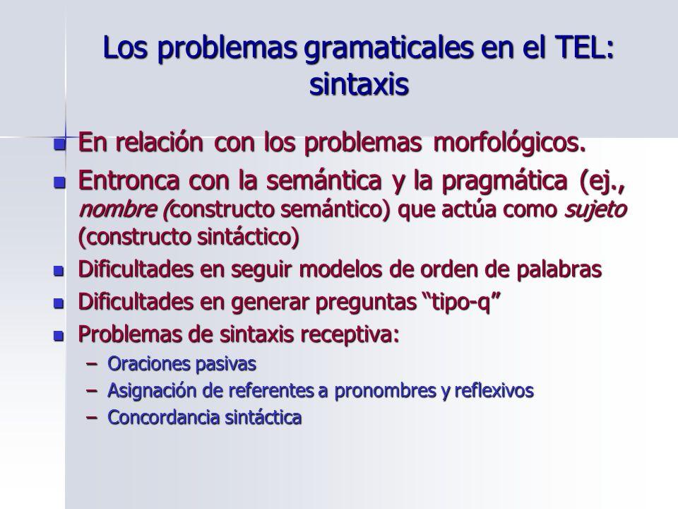 Los problemas gramaticales en el TEL: sintaxis