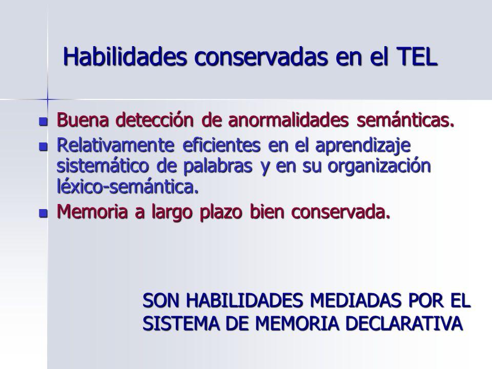 Habilidades conservadas en el TEL
