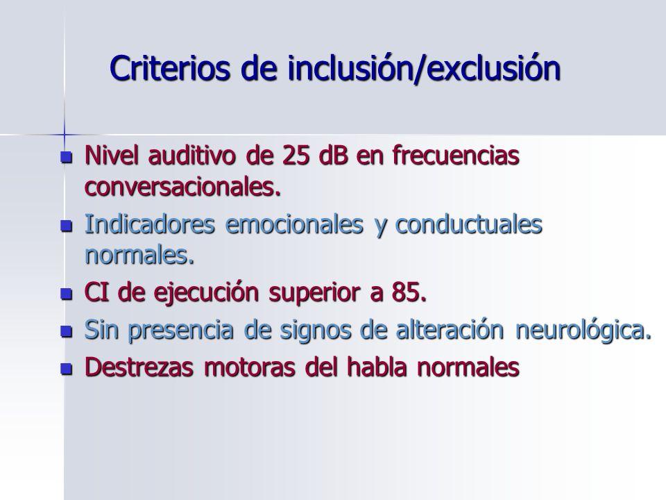 Criterios de inclusión/exclusión