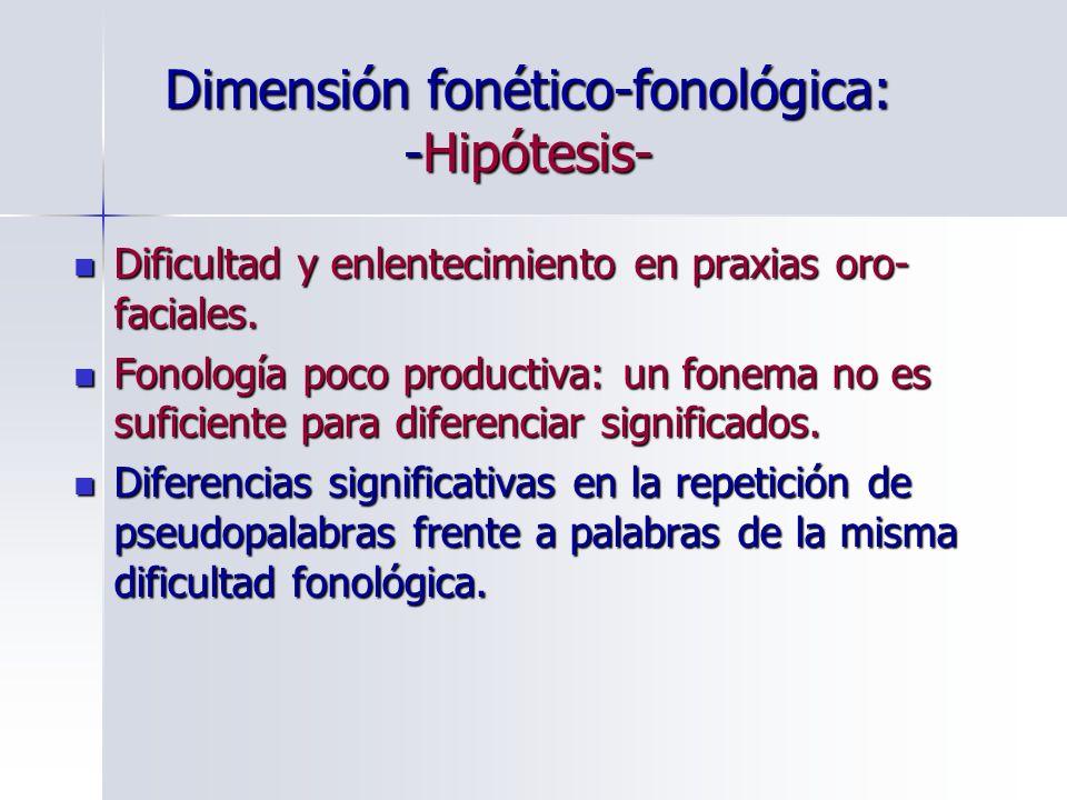 Dimensión fonético-fonológica: -Hipótesis-