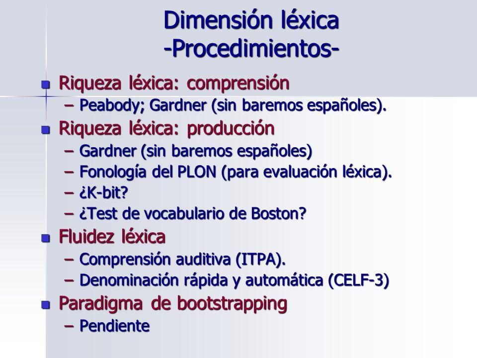 Dimensión léxica -Procedimientos-