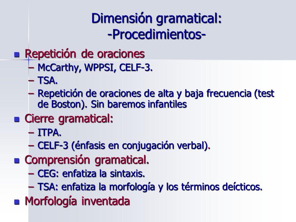 Dimensión gramatical: -Procedimientos-