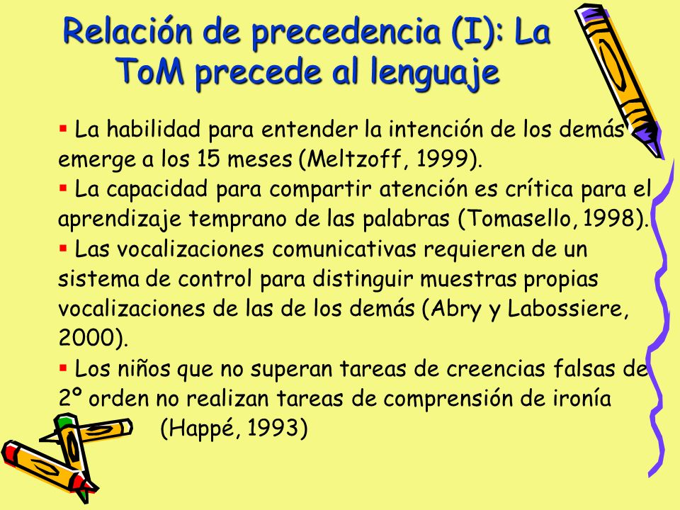 Relación de precedencia (I): La ToM precede al lenguaje