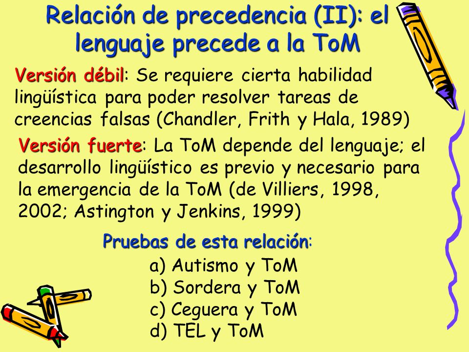Relación de precedencia (II): el lenguaje precede a la ToM