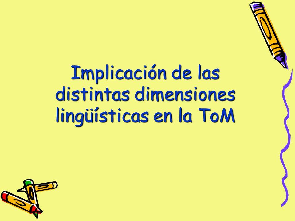 Implicación de las distintas dimensiones lingüísticas en la ToM