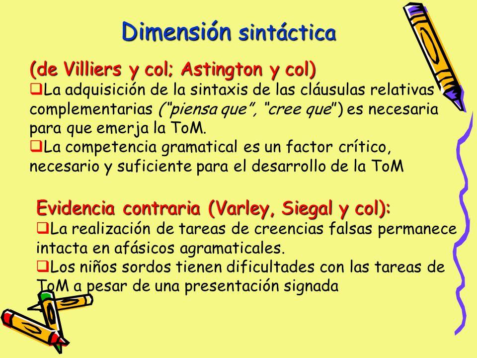 Dimensión sintáctica (de Villiers y col; Astington y col)
