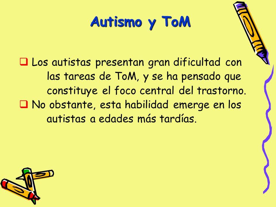 Autismo y ToM Los autistas presentan gran dificultad con las tareas de ToM, y se ha pensado que constituye el foco central del trastorno.