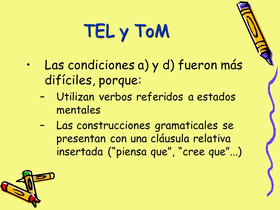 TEL y ToM Las condiciones a) y d) fueron más difíciles, porque: