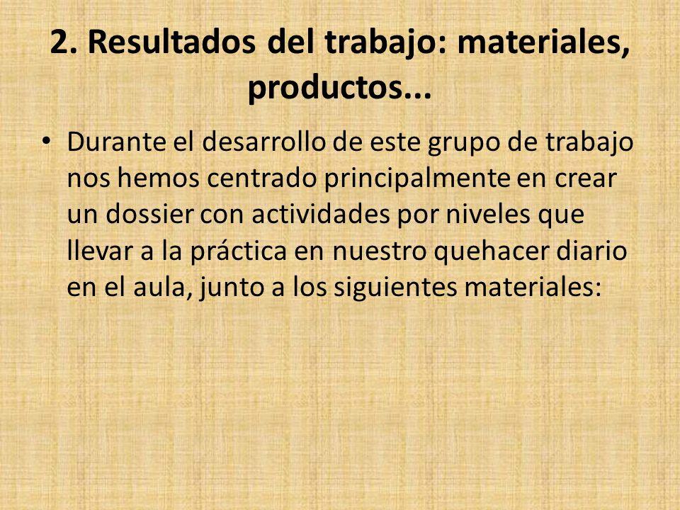 2. Resultados del trabajo: materiales, productos...