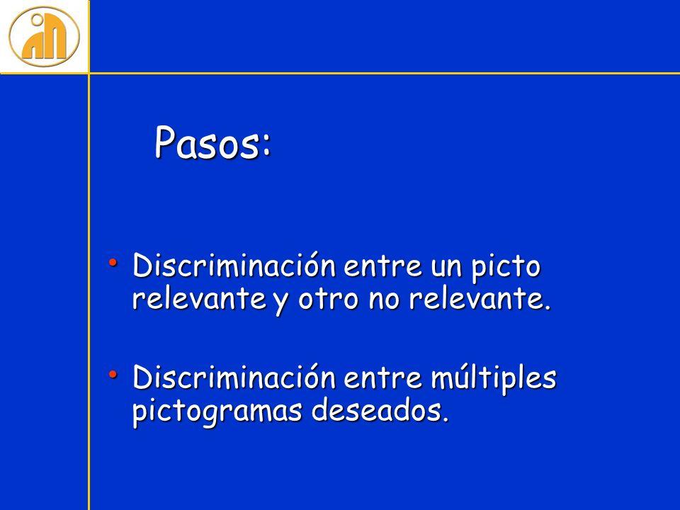 Pasos: Discriminación entre un picto relevante y otro no relevante.