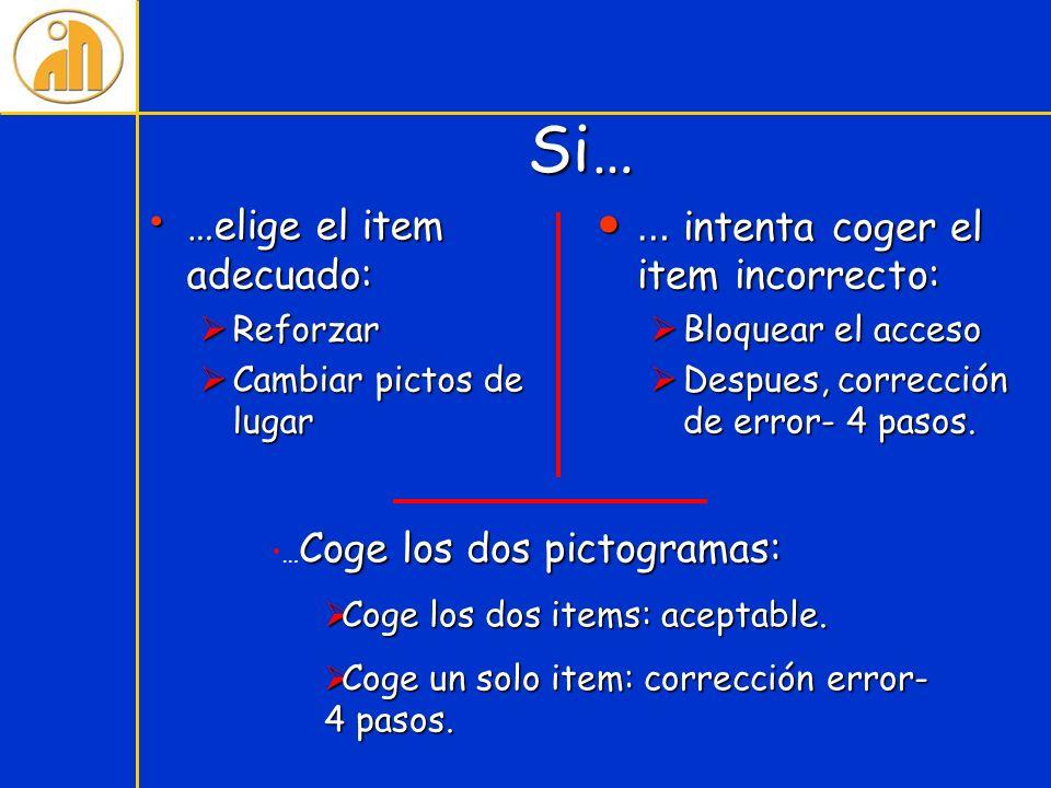 Si… …elige el item adecuado: … intenta coger el item incorrecto: