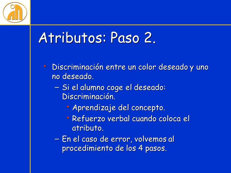 Atributos: Paso 2. Discriminación entre un color deseado y uno no deseado. Si el alumno coge el deseado: Discriminación.