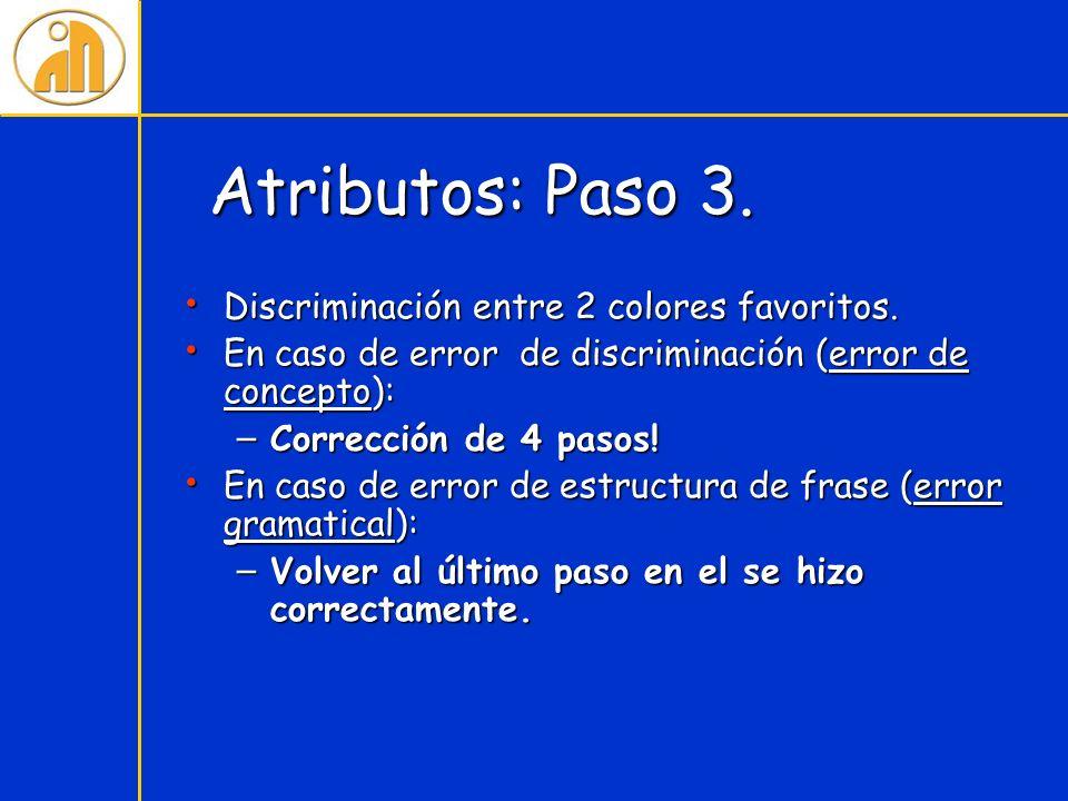 Atributos: Paso 3. Discriminación entre 2 colores favoritos.