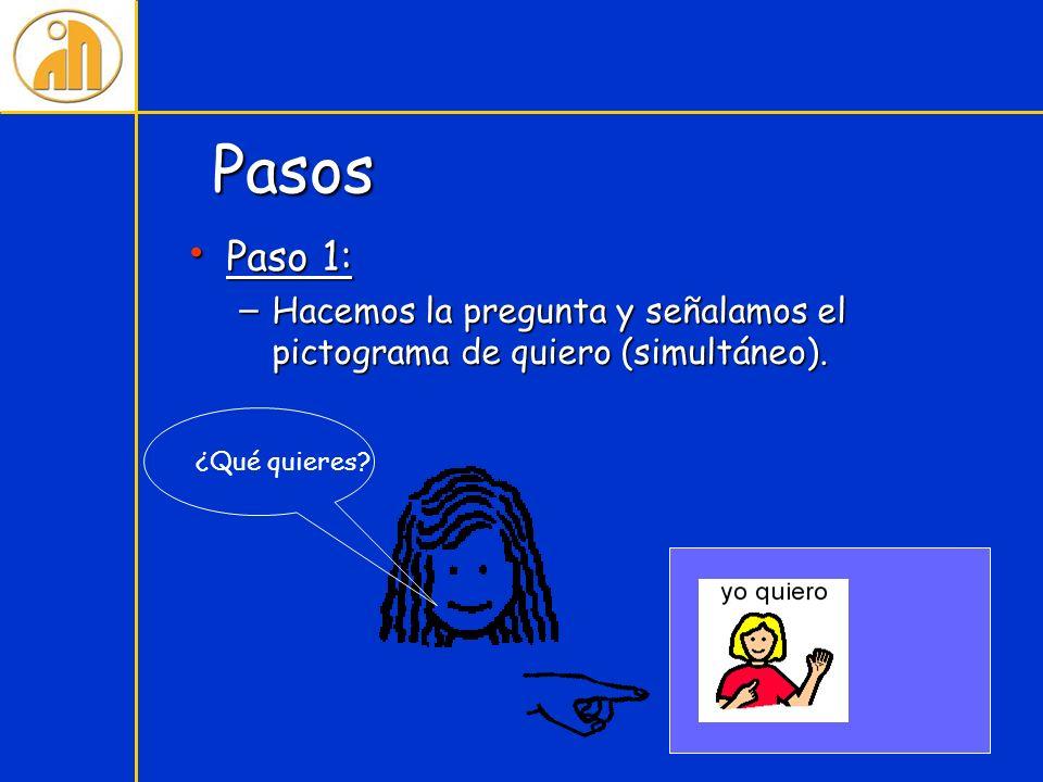 Pasos Paso 1: Hacemos la pregunta y señalamos el pictograma de quiero (simultáneo). ¿Qué quieres