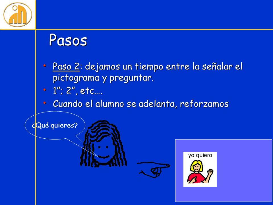 Pasos Paso 2: dejamos un tiempo entre la señalar el pictograma y preguntar. 1 ; 2 , etc…. Cuando el alumno se adelanta, reforzamos.