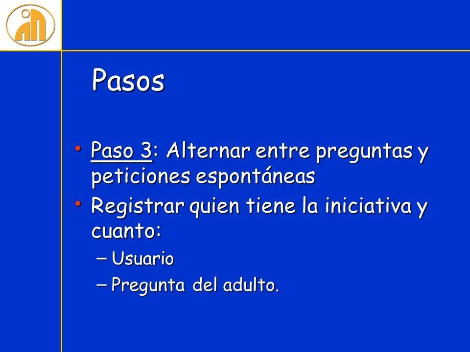 Pasos Paso 3: Alternar entre preguntas y peticiones espontáneas