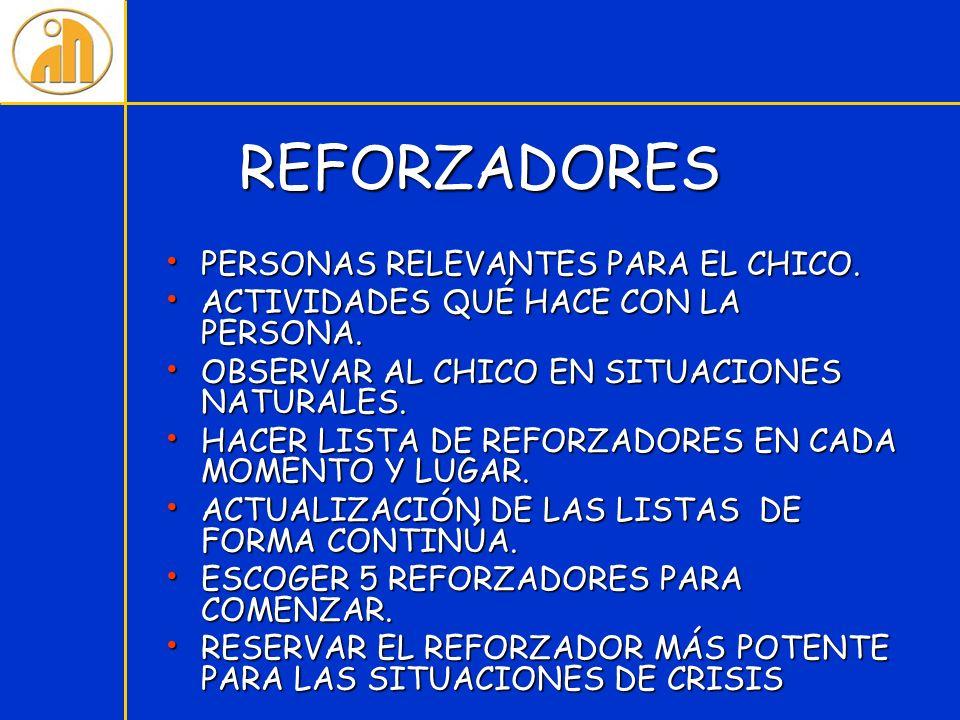 REFORZADORES PERSONAS RELEVANTES PARA EL CHICO.