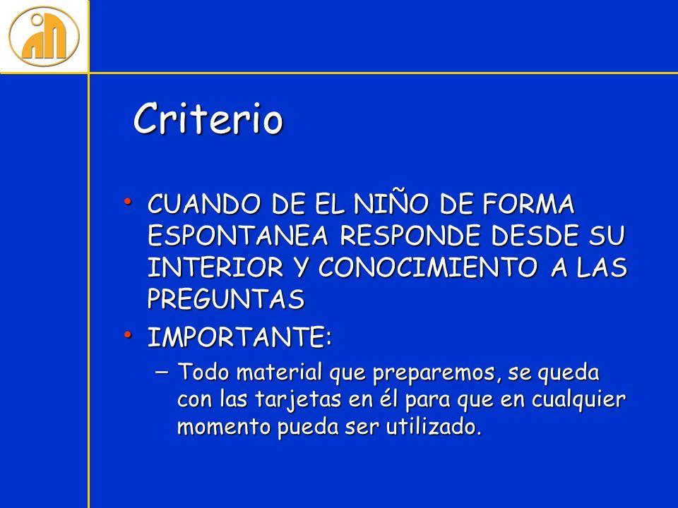 Criterio CUANDO DE EL NIÑO DE FORMA ESPONTANEA RESPONDE DESDE SU INTERIOR Y CONOCIMIENTO A LAS PREGUNTAS.