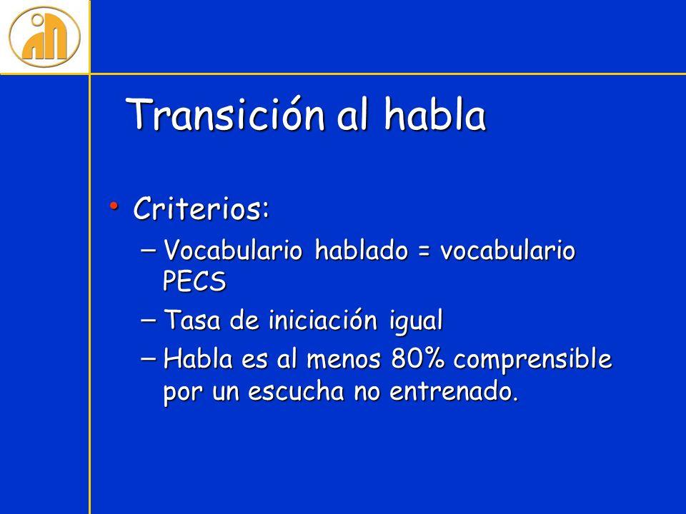 Transición al habla Criterios: Vocabulario hablado = vocabulario PECS