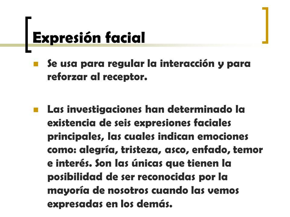 Expresión facial Se usa para regular la interacción y para reforzar al receptor.