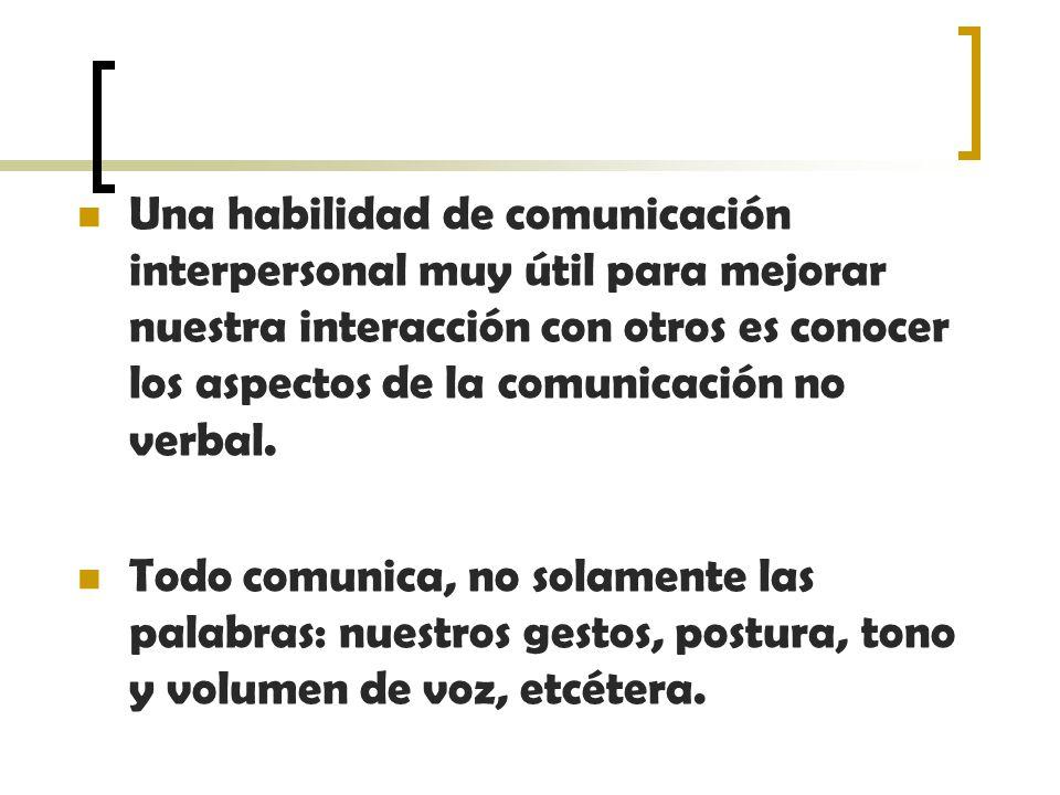 Una habilidad de comunicación interpersonal muy útil para mejorar nuestra interacción con otros es conocer los aspectos de la comunicación no verbal.