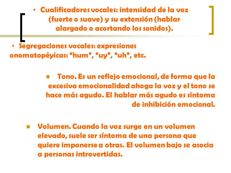 Cualificadores vocales: intensidad de la voz (fuerte o suave) y su extensión (hablar alargado o acortando los sonidos).