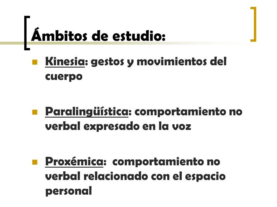 Ámbitos de estudio: Kinesia: gestos y movimientos del cuerpo