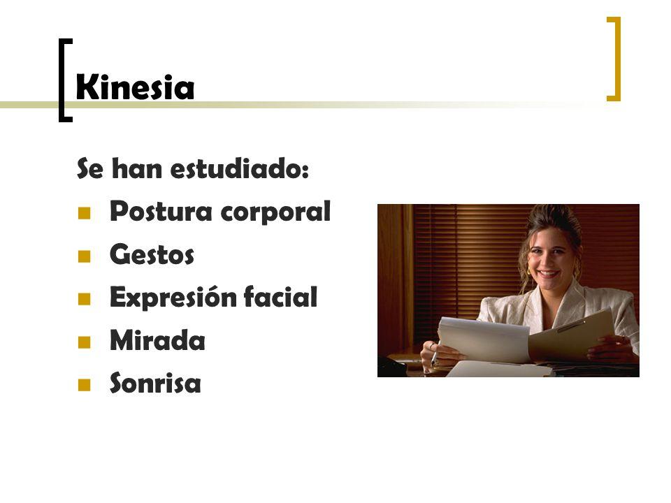Kinesia Se han estudiado: Postura corporal Gestos Expresión facial