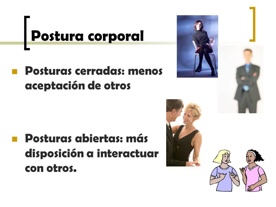 Postura corporal Posturas cerradas: menos aceptación de otros