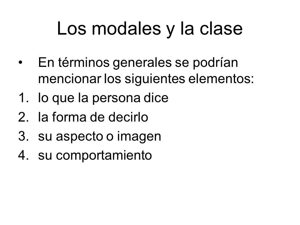 Los modales y la clase En términos generales se podrían mencionar los siguientes elementos: lo que la persona dice.