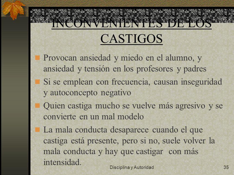 INCONVENIENTES DE LOS CASTIGOS