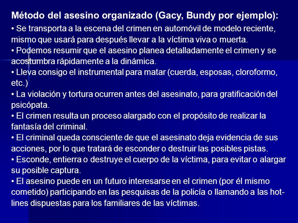 Método del asesino organizado (Gacy, Bundy por ejemplo):