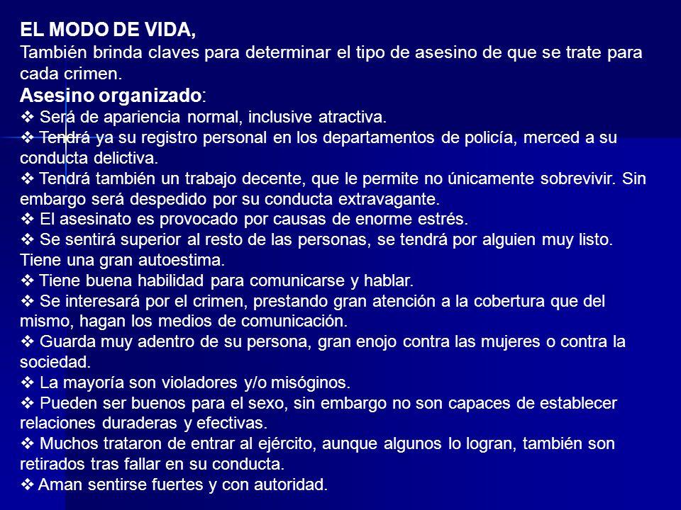 EL MODO DE VIDA, Asesino organizado: