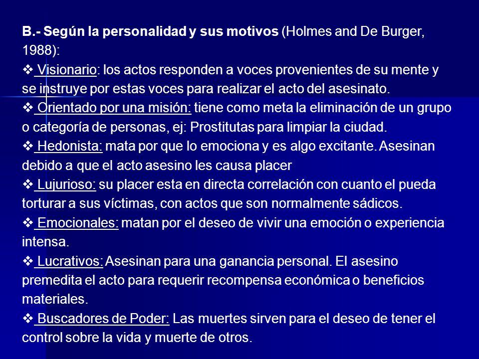 B.- Según la personalidad y sus motivos (Holmes and De Burger, 1988):