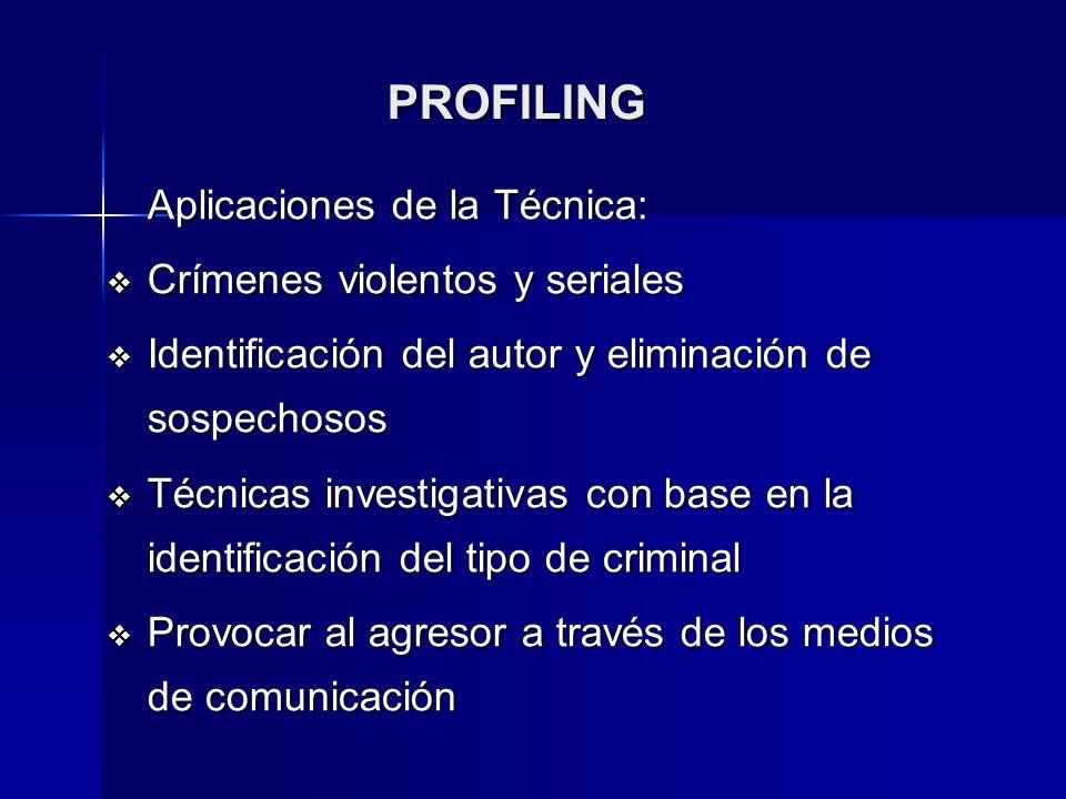 PROFILING Aplicaciones de la Técnica: Crímenes violentos y seriales