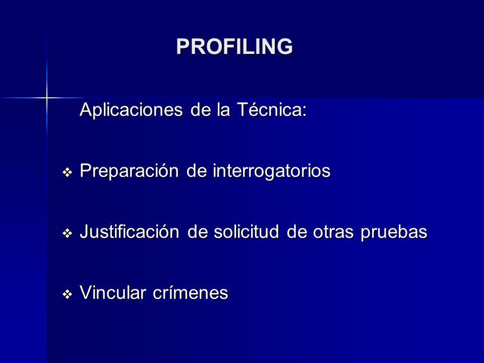 PROFILING Aplicaciones de la Técnica: Preparación de interrogatorios
