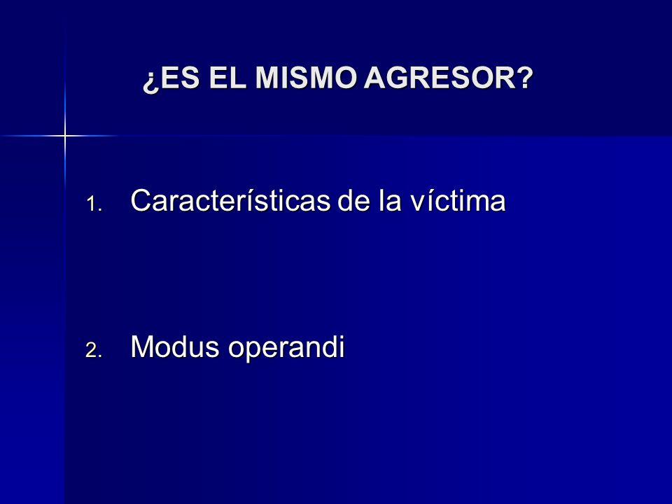 ¿ES EL MISMO AGRESOR Características de la víctima Modus operandi