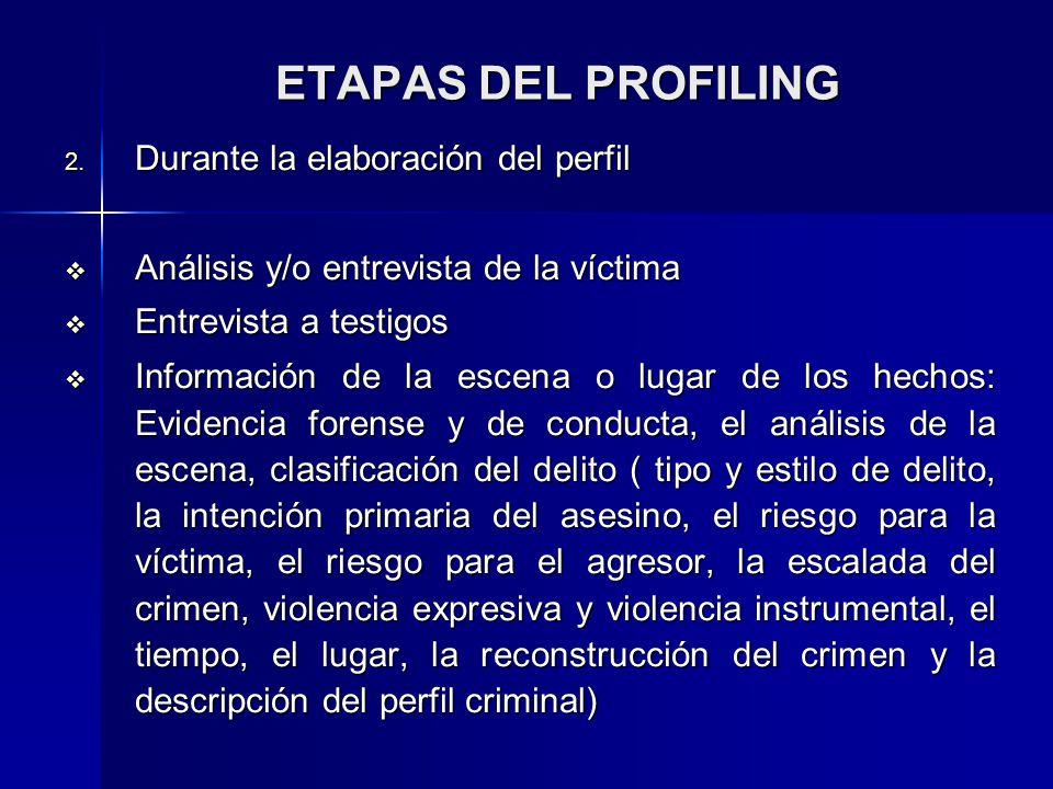 ETAPAS DEL PROFILING Durante la elaboración del perfil