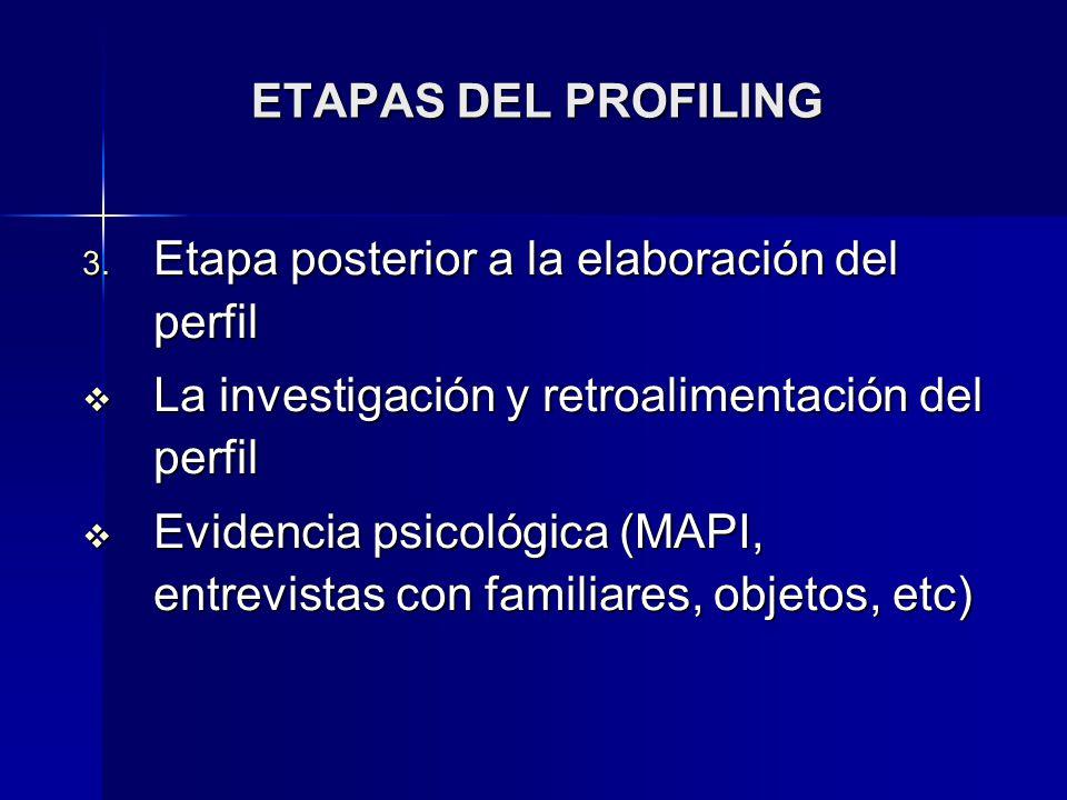 ETAPAS DEL PROFILING Etapa posterior a la elaboración del perfil. La investigación y retroalimentación del perfil.