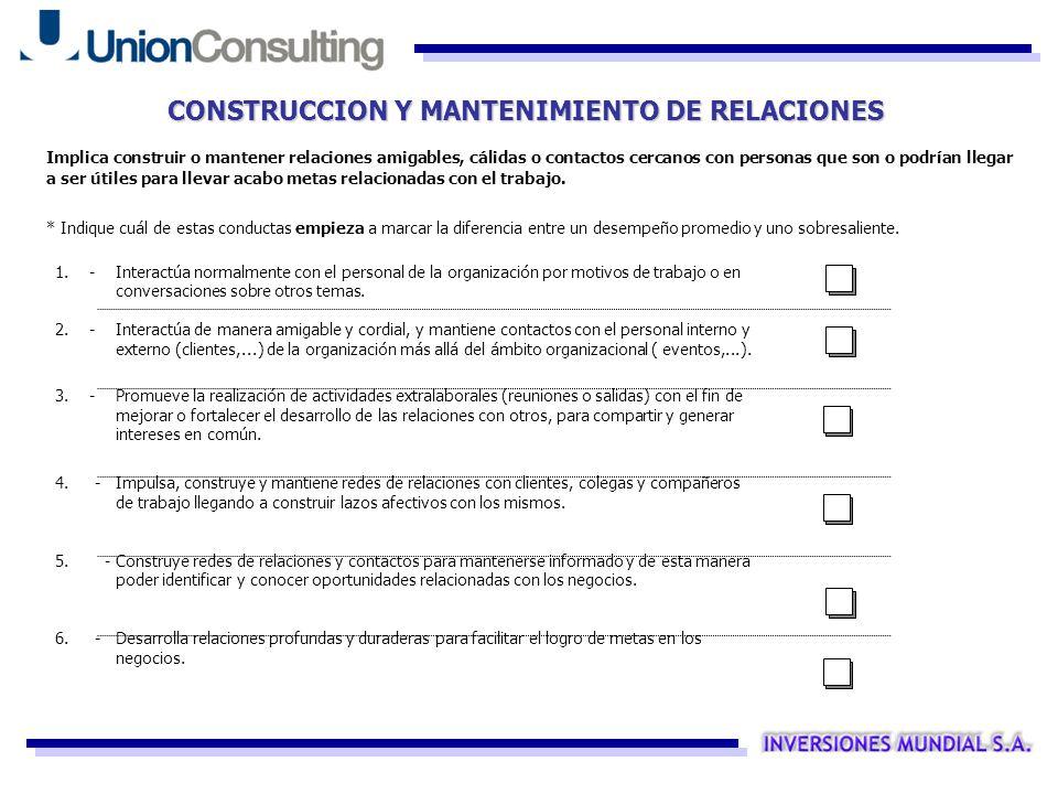 CONSTRUCCION Y MANTENIMIENTO DE RELACIONES