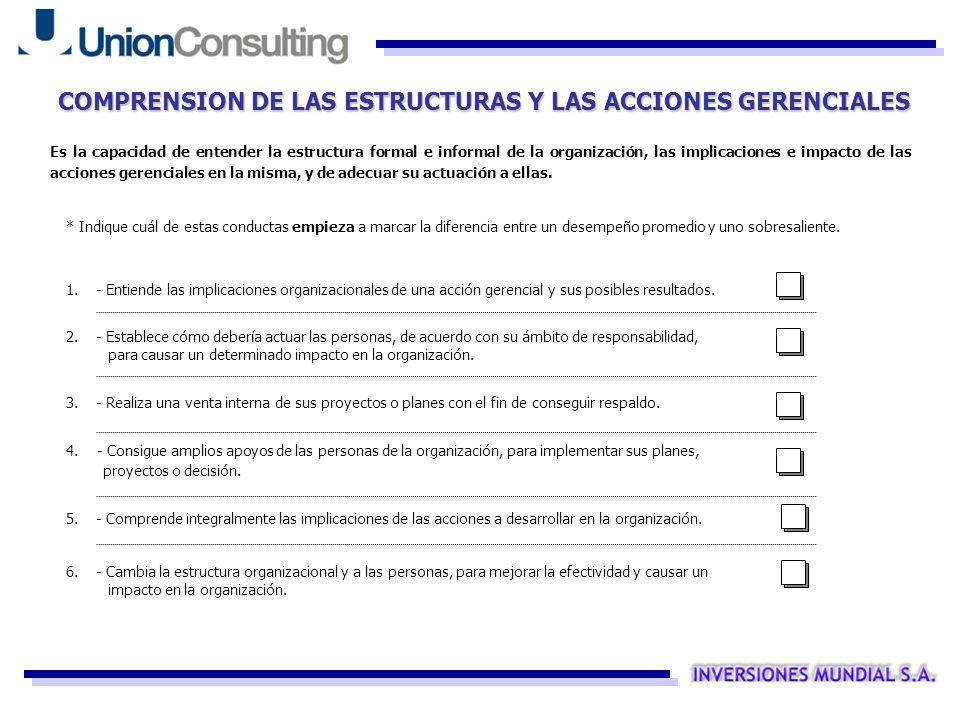 COMPRENSION DE LAS ESTRUCTURAS Y LAS ACCIONES GERENCIALES