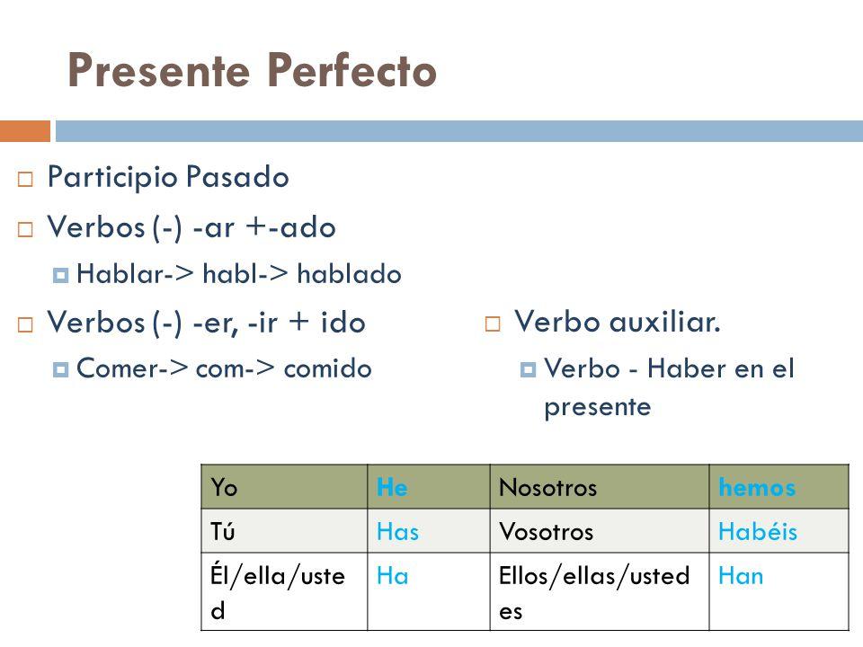 Presente Perfecto Participio Pasado Verbos (-) -ar +-ado