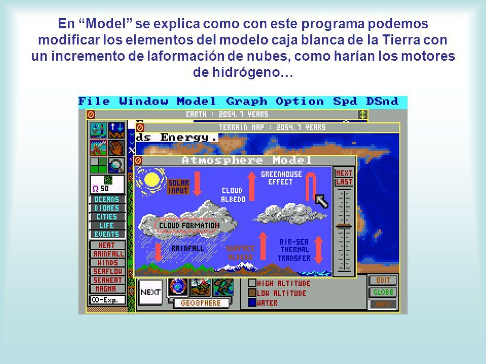 En Model se explica como con este programa podemos modificar los elementos del modelo caja blanca de la Tierra con un incremento de laformación de nubes, como harían los motores de hidrógeno…