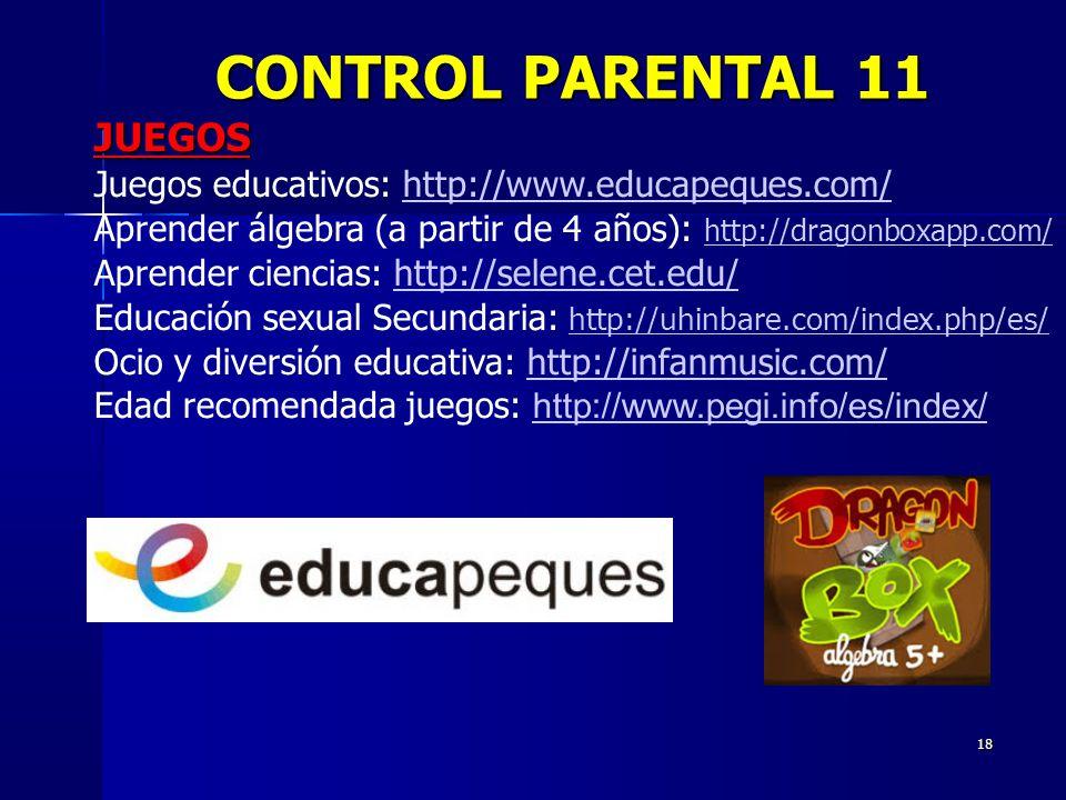 CONTROL PARENTAL 11 JUEGOS