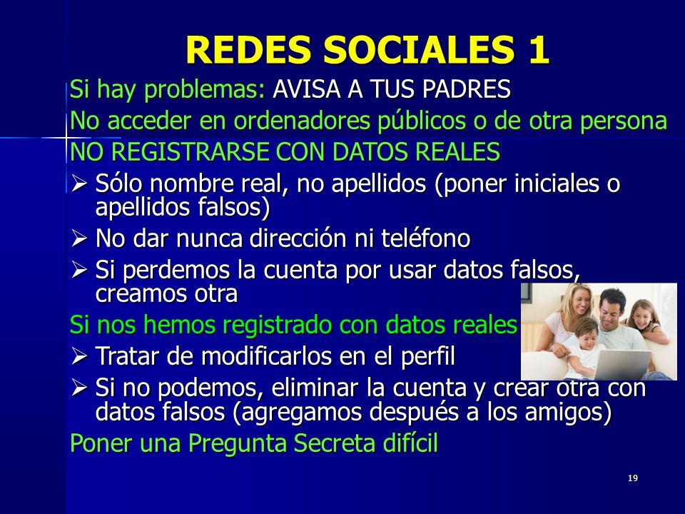 REDES SOCIALES 1 Si hay problemas: AVISA A TUS PADRES