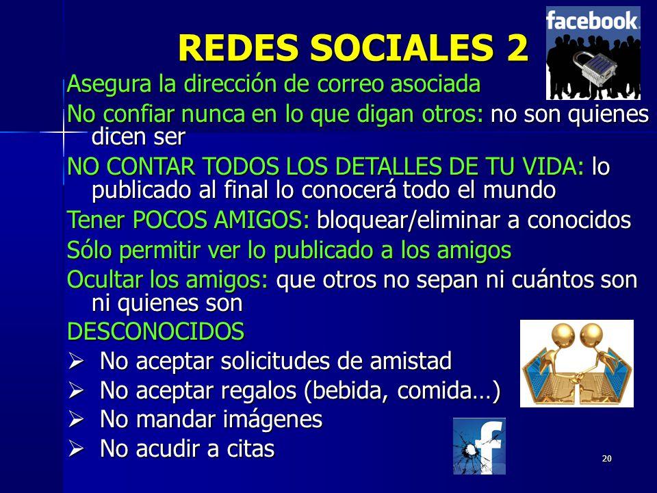 REDES SOCIALES 2 Asegura la dirección de correo asociada